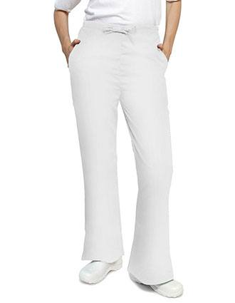 Adar Women's Two Slash Pockets Flare Leg Scrub Pants