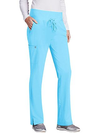 Barco One Women 5-Pocket Knit Waistband Flare Scrub Pant