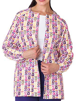 Bio Prints Ladies Pop Art Purple Raglan Sleeve Warm Up Scrub Jacket