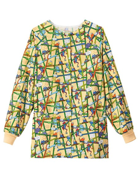 Bio Women's Raglan Sleeves Frog Print Warm-Up Jacket