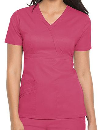 Cherokee Luxe Women Rayon Mock Wrap Scrub Top