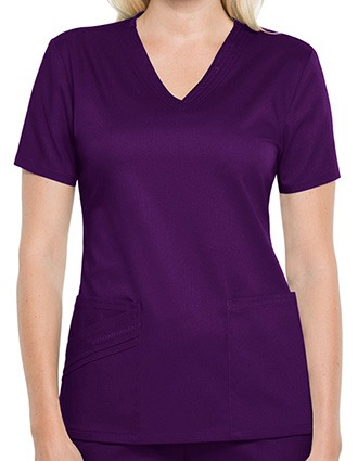 Cherokee Luxe Women Solid V- Neck Nursing Scrub Top