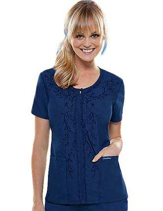Cherokee Women Floral Embroidered V-Neck Nursing Scrub Top