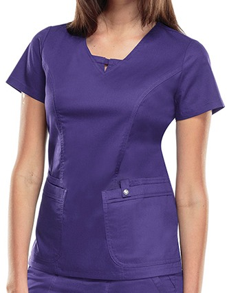 Cherokee Luxe Junior Four-Pocket V-Neck Solid Scrub Top