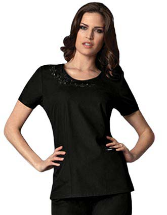 Runway Womens Two Pocket Round Neck Scrub Top