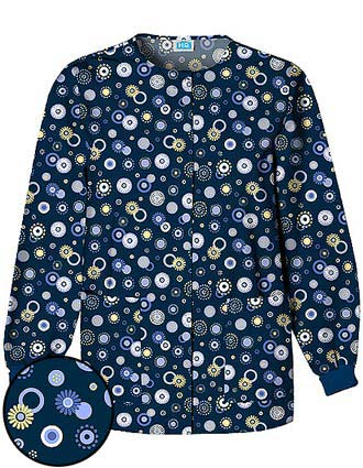 Cherokee Womens Three Pocket Dot's Wonderful Scrub Jacket