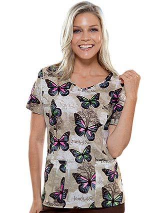 Cherokee HQ Women V-Neck Forest Monarch Top