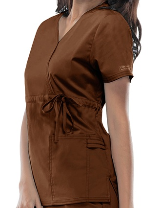 Cherokee WorkWear Stretch Women Mock Wrap Top