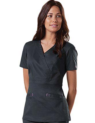 Cherokee Workwear Stretch Women Mock Wrap Scrub Top