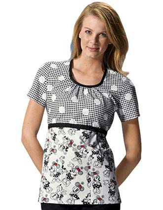 Disney Womens Scoop Neck Minnie In Stitches Nursing Scrub Top