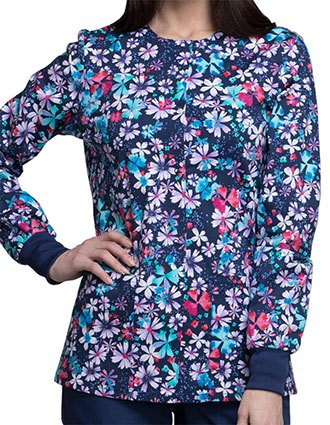 Cherokee Genuine Women's Floral Blast Snap Front Warm-up Jacket