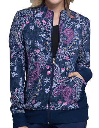 Cherokee Denim Dreams Women's Pineapple Paisley Zip Front Knit Panel Jacket