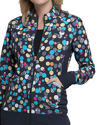 Cherokee Safari Sunrise Women's  Polka Dot Game Zip Front Knit Panel Jacket