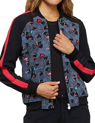 Cherokee Women's Marked Hearts Printed Zip Front Jacket