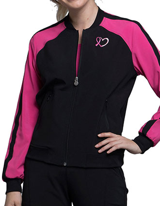 Cherokee Infinity Women's Round Zip Front Color block Bomber Jacket