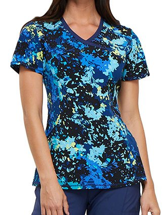 Cherokee Women's Barely Branches Printed Mock Wrap Top