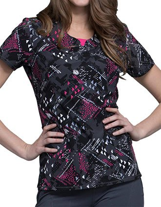 Cherokee Abstract Ways Women's Textured Triangles Round Neck Top