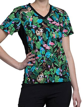 Cherokee Wild At Heart Women's Tropical Tango V-Neck Knit Panel Top