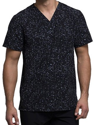 Cherokee Abstract Ways Brush Hour Men's V-Neck Top