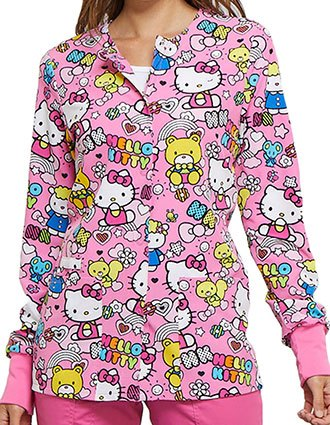 Tooniforms Women's Color Me Hello Kitty Snap Front Printed Jacket