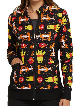 Tooniforms Women's A Bear Likes Honey Zip Front Warm-Up Printed Jacket