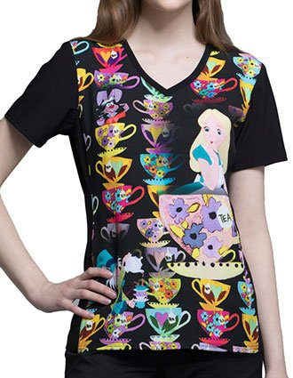 Tooniforms Disney Women's Alice Tea Time Printed V-neck Top