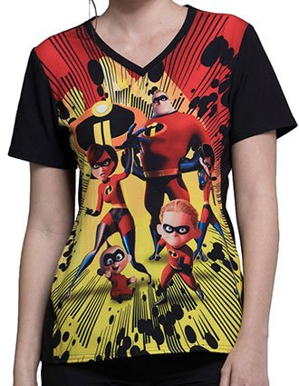 Tooniforms Disney Women's Incredibles II Printed V-neck Top