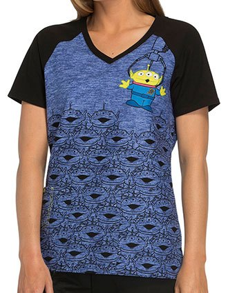 Cherokee Tooniforms Disney Women's Little Green Men Print V-Neck Top