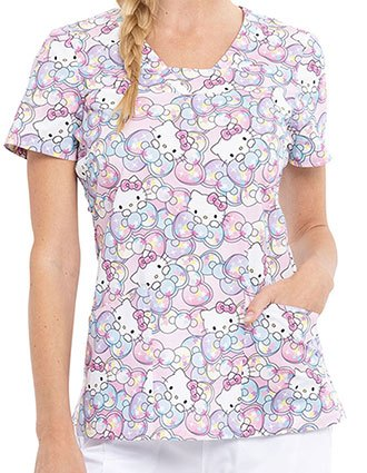 Tooniforms Women's Hello Supercute Printed V-neck Top