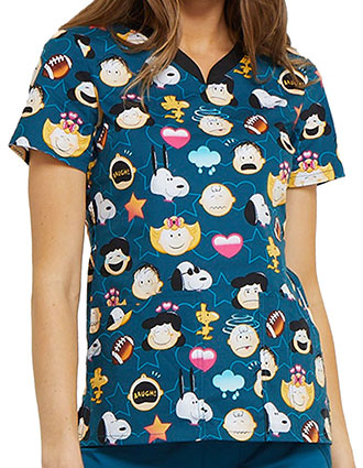Tooniforms Women's Peanuts Emoji Printed V-neck Top