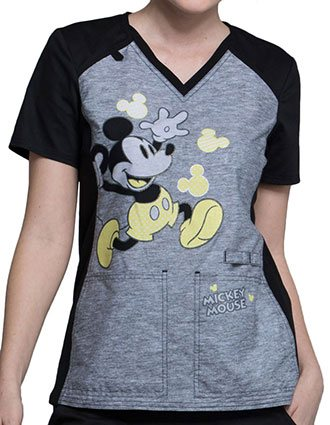 Tooniforms Disney Women's Polka Dot V-Neck Knit Panel Top