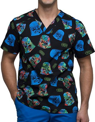 Tooniforms Men's Darth On Holiday Printed V-neck Top