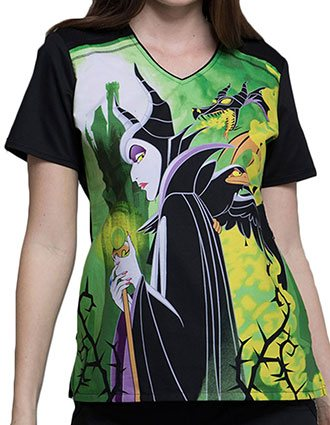 Tooniforms Halloween Women's Maleficent Printed V-Neck Top
