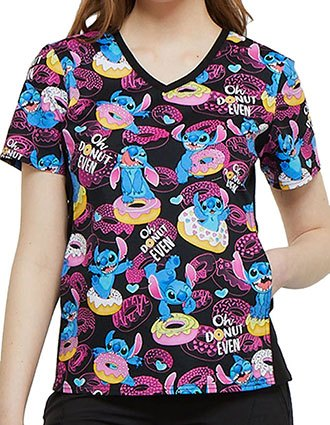 Tooniforms Disney Women's Donut Even Printed V-Neck Knit Panel Top