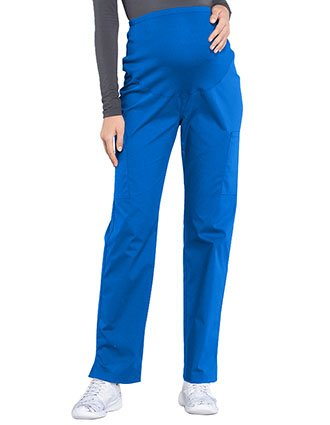 Cherokee Workwear Professionals Maternity Knit Waist Straight Leg Tall Pant
