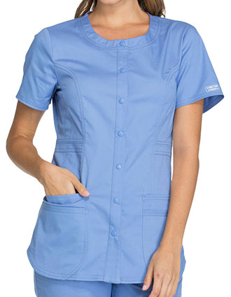 Cherokee Workwear Core Stretch Women's Round Neck Fashion Top