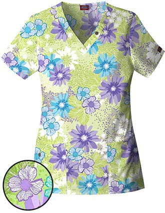 Dickies Natural Elements Missy V-Neck Flourish Printed Scrub Top