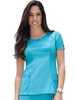 Dickies Soft Works Missy Solid Round Neck Yoke Scrub Top