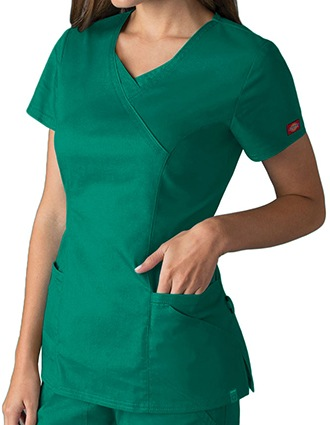 Dickies EDS Signature Stretch Women's Jr. Fit Mock Wrap Scrub Top