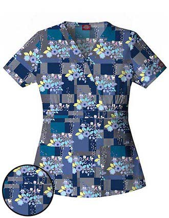 Clearance Sale! Dickie Enzyme Washed Junior Fit Mock Wrap Whoo That! Printed Scrub Top