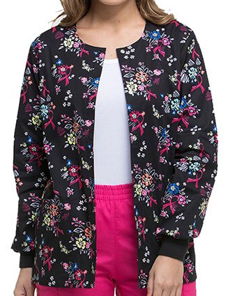 Dickies EDS Women's Beautiful Petals Snap Front Warm-Up Jacket