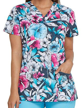 Dickies EDS Women's Second Nature Printed V-Neck Top