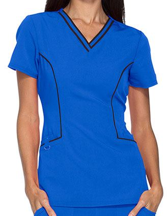 Dickies Xtreme Stretch Womens Contrast Trim V-Neck Top