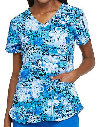 Dickies Women's Digital Daisies Printed V-Neck Top