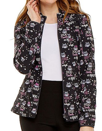 HeartSoul Womens Zip Front Hoo Needs A Nap Printed Bomber Jacket