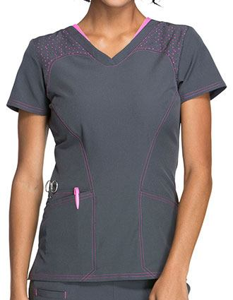 HeartSoul Break On Through Womens Spot of Hope  V-Neck Scrub Top