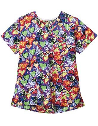 Jockey Women's Fingerpaint Heart Print Mockwrap Top