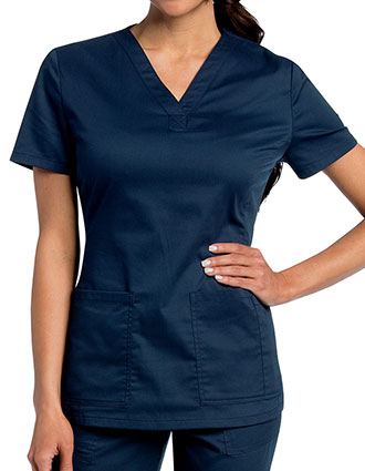 Landau Womens All Day Y-Neck Scrub Tunic Top