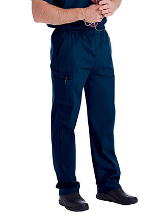 Landau Men's Cargo Pockets Elastic Waist Medical Scrub Pants