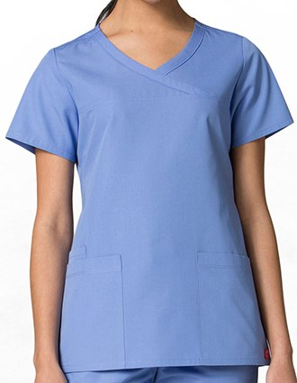 Maevn Red Panda Women's Curved Mock Wrap Scrub Top